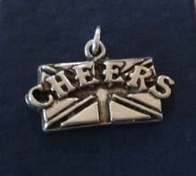 Sterling Silver 22mm says CHEERS on British flag England London Pub Travel Charm