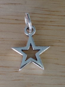 Sterling Silver 10mm Small 5 Point Dallas Double Cut out Star Cowboy Charm