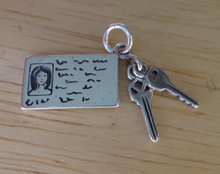 Sterling Silver 8x20mm Movable Female Driver's License w/ Car & House Keys Charm
