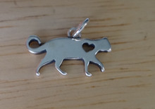 Sterling Silver 17x12mm Love Walking Cat with cut out Heart Charm