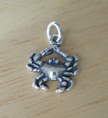 Sterling Silver 3D 13mmx13mm Cancer the Crab Sign of Zodiac Charm