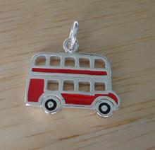 Sterling Silver 16x13mm Red Enamel London England Double Decker Tour Bus Charm