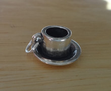 Sterling Silver 3D 15mm detailed Espresso Coffee Cup Saucer Charm