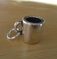 Sterling Silver 3D 10x9mm detailed Hot Chocolate Tea Coffee MUG Cup Saucer Charm