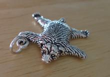 Sterling Silver 20x21mm ~4 gram 3D Bear Skin Rug Charm hollow on back