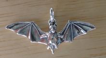 Sterling Silver Halloween 3D 12x5mm Vampire Fruit Bat Charm!