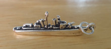 Sterling Silver 3D 33x15mm Military Navy Destroyer Ship Charm