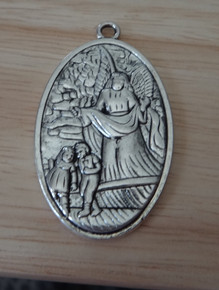 """Silver Pewter 1"""" by 1.75"""" large Children Guardian Angel St Michael Medal Religious Pendant Charm"""