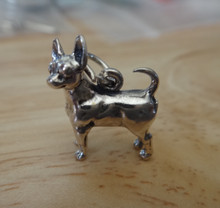 Sterling Silver 13x14mm 3D Chihuahua Dog with Head Turned Charm! sw