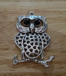 XL Pewter 50x30mm Sorority Chi Omega Owl with Black Bead eyes Charm Pendant