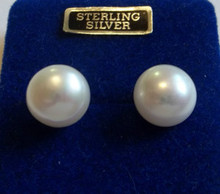 11mm Sterling Silver & White Fresh Water Pearl Stud Earrings