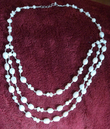 """18-20"""" Sterling Silver & White Fresh Water Pearl Graduated Triple Strand Necklace"""
