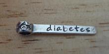Long Diabetic says Diabetes Medical Alert ID large hole Charm Sterling Silver Slide