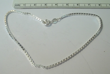 """9"""" Sterling Silver 4g 2mm Box Chain Ankle Bracelet"""