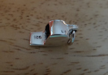 3D 8x15mm Shiny Sport Coach Referee Whistle Sterling Silver Charm