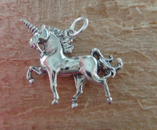 3D 12x22mm Magical Unicorn horse Sterling Silver Charm!