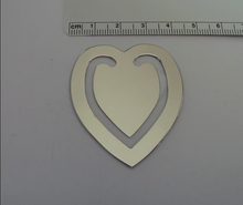 """2"""" Silver no tarnish Nickel plated Great Gift Heart Engravable Bookmark"""