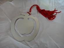 "2.5x2.9"" Silver Nickel plated Great Teacher Gift Apple Engravable Bookmark Red Tassel"