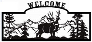 Welcome sign,  Deer Looking Sideways