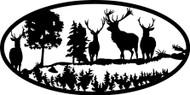 Oval Insert, Deer Scene
