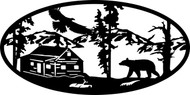 Oval Insert, Cabin w/ Bear and Bird