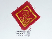 Bear Cub Scout Rank, felt with material extending over edge, lt use