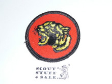 Tiger Patrol Medallion, Orange Twill with paper back, 1972-1989