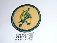 Pedro (hiking ) Patrol Medallion, Yellow Twill with plastic back, 1972-1989
