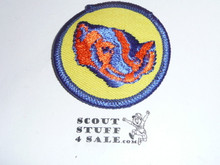 Badger Patrol Medallion, Yellow Twill with plastic back, 1972-1989