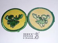 Moose Patrol Medallion, Yellow Twill with plastic back, 1972-1989