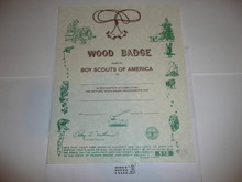 2000 Wood Badge Training Certificate, blank