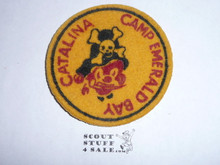 1952-1953 Camp Emerald Bay FELT Patch, Yellow, Lite Use