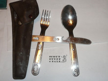 1970's Boy Scout Fork Knife and Spoon Set, With Case