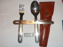 1970's Official Boy Scout Fork Knife and Spoon Set in Case, By Imperial