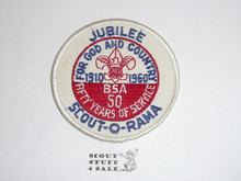 1960 National Jamboree White Twill Jubilee Scout-O-Rama Patch