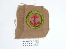 Seamanship - Type A - Square Tan Merit Badge (1911-1933), lt use, oversized cloth