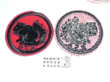 Squirrel Patrol Medallion, Felt w/BSA & Solid Black Ring back, 1933-1939