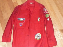 "Official Boy Scouts of America Red Wool Jacket with Patches - 30""L x 19""W"
