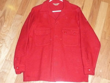 "Official Boy Scouts of America Red Wool Jacket  - 28""L x 17.5""W, Size 38"