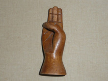 "Carved Wood Hand making the Scout Sign, 4"" Tall - Boy Scout"
