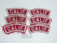 6 CALIF. Red/White Boy Scout State Strips, used