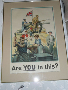 """Are you This?"" WWI British Recruiting Poster BY Baden Powell, Framed"