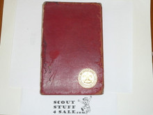1910 Boy Scout Handbook, RARE WALDORF ASTORIA BADEN POWELL DINNER HANDBOOK, Red Leather Cover, Wear to Cover and Spine