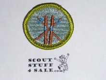 Skiing (brown ski's) - Type G - Fully Embroidered Cloth Back Merit Badge (1961-1971)