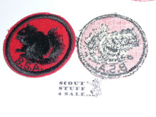 Squirrel Patrol Medallion, Felt w/BSA black/White ring back, 1940-1955