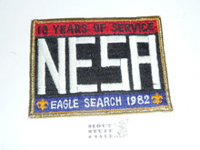 National Eagle Scout Association, 10th Anniversary, 1982 Eagle Scout Search Patch, Gold Mylar Bdr