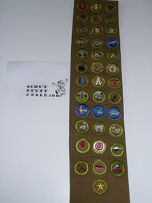 1940's Boy Scout Merit Badge Sash with 37 tan & Khaki crimped merit badges (4 are Air Scout), Air Scout & camp patches