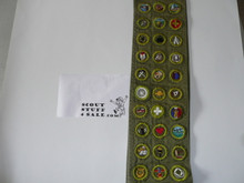 1950's Boy Scout Merit Badge Sash with 31 Crimped Merit badges