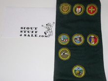 1950's Explorer Scout Merit Badge Sash with 8 Crimped Merit badges sewn on