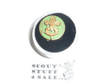 "Junior Assistant Scoutmaster Lapel Pin, crude vertical bent wire Back, 1940's, 5/8"" dia, Scarce"
